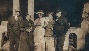 "The Körner family: Gilmer, ""Aunt Sallie,"" Doré, Polly Alice, and Jule in front of the Folly on November 19, 1911 bidding her farewell."