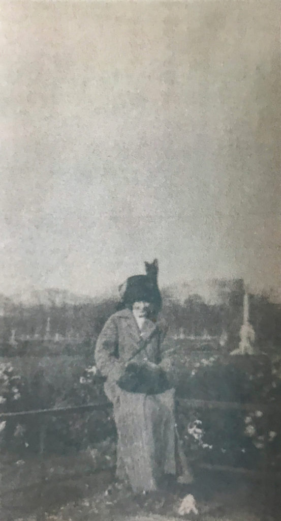 Doré in the Jardin de Luxembourg, December 9, 1911. She wrote to Gilmer that she often walked through the Jardin de Luxembourg on her way to her art lessons.