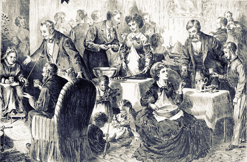 Black and white illustration of many people at Christmas dinner.