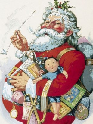 Illustration of Santa Claus in red suit with white hair, holding a long pipe and toys.