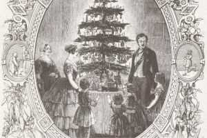 A black and white illustration of Queen Victoria, Prince Albert, and their family around a decorated Christmas tree on a table.