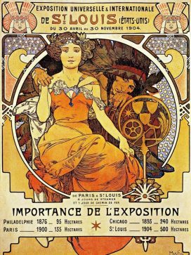 This World's Fair poster from Czech painter Alphonse Mucha depicts a woman holding hands with a Native American.